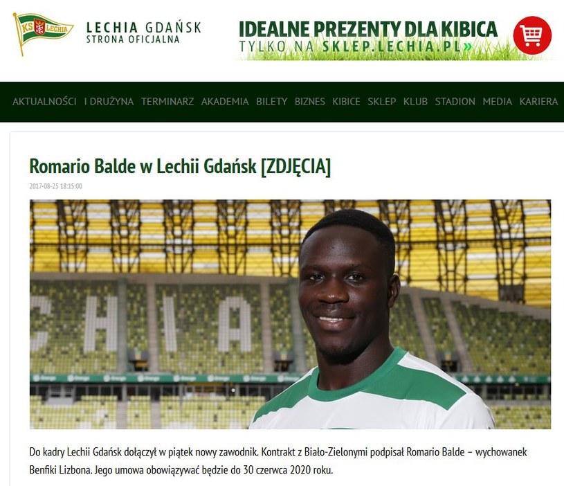 Zrzut ekranu z oficjalnej strony Lechii Gdańsk /print screen /
