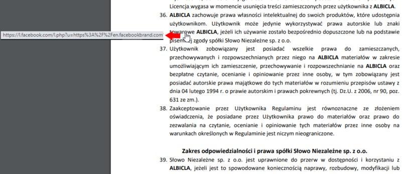 Zrzut ekranu z regulaminu serwisu Albicla, fragment punktu 36. ma hiperłącze do Facebooka /INTERIA.PL