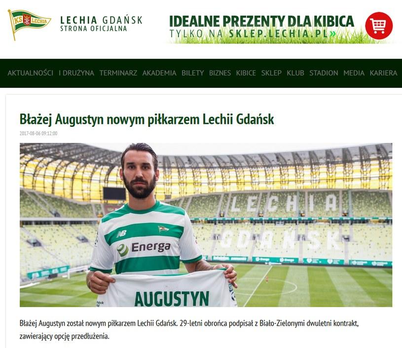Zrzut ekranu ze strony internetowej gdańskiego klubu /print screen /