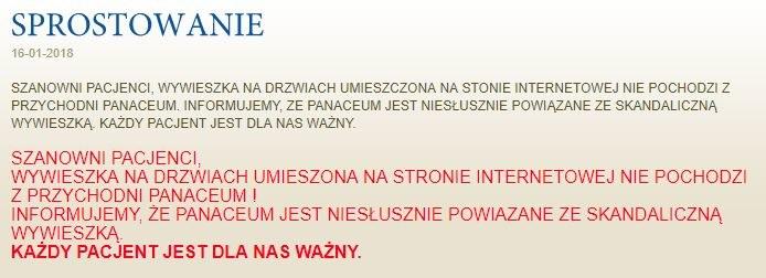 Zrzut ekranu ze strony internetowej przychodni. /www.panaceum-rumia.pl /Zrzut ekranu
