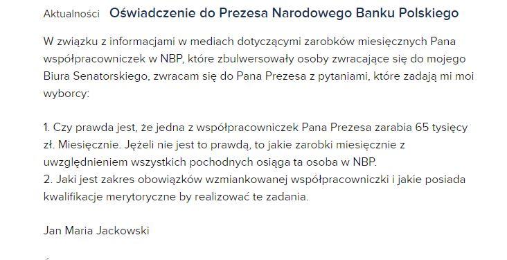 Zrzut ekranu ze strony senatora PiS Jana Marii Jackowskiego /