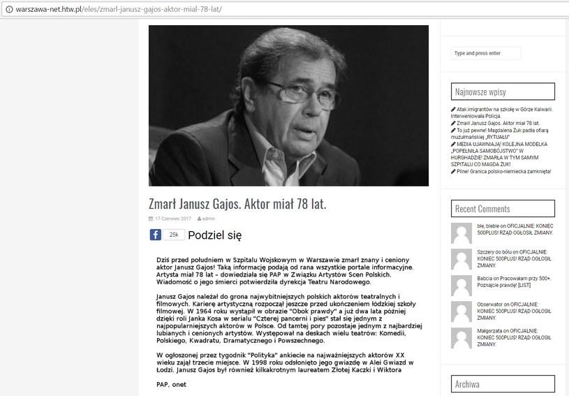 Zrzut z ekranu ze strony warszawa-net.htw.pl z informacją o śmierci Janusza Gajosa /warszawa-net.htw.pl /materiały prasowe