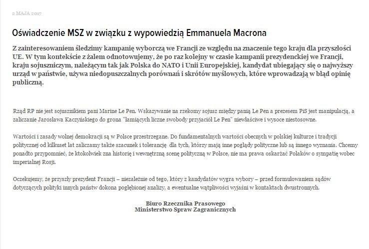 Zrzut ze strony MSZ. Oświadczenie w języku polskim /MSZ /