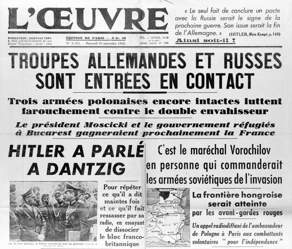 """Gazeta """"L'Oeuvre"""" z 20 września 1939 roku informuje o sowieckiej napaści na Polskę"""