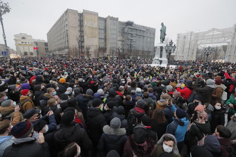 Zwolennicy Nawalnego w Moskwie /MAXIM SHIPENKOV    /PAP/EPA