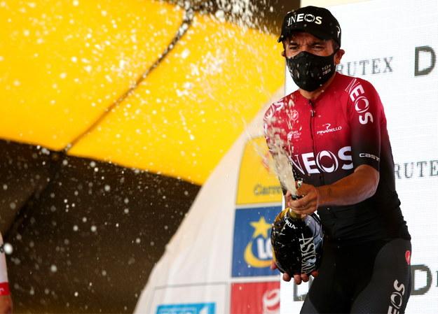 Zwycięzca 3. etapu i nowy lider wyścigu kolarskiego 77. Tour de Pologne UCI World Tour, Ekwadorczyk Richard Carapaz z grupy Ineos / Andrzej Grygiel    /PAP