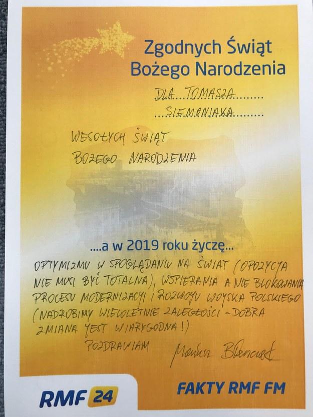 Życzenia Mariusza Błaszczaka dla Tomasza Siemoniaka /RMF FM