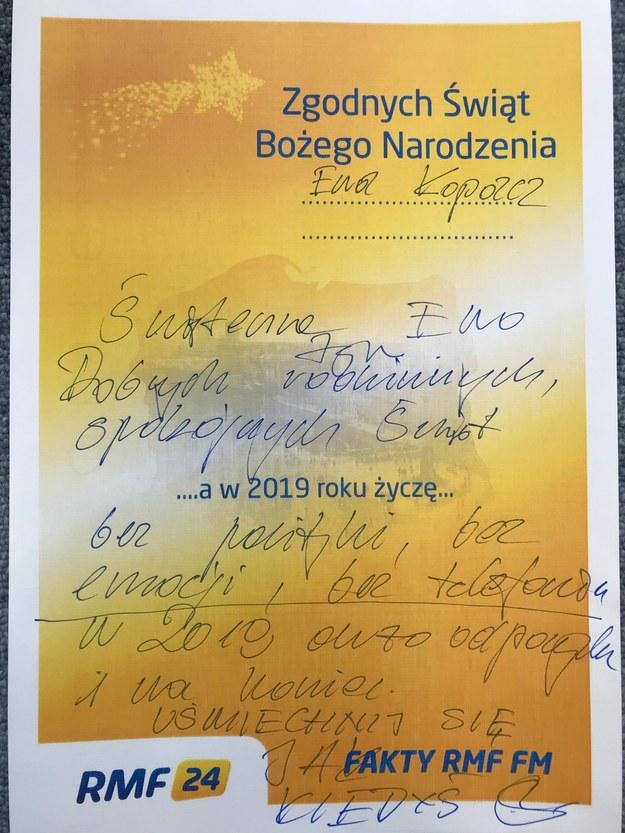Życzenia Stanisława Karczewskiego dla Ewy Kopacz /RMF FM