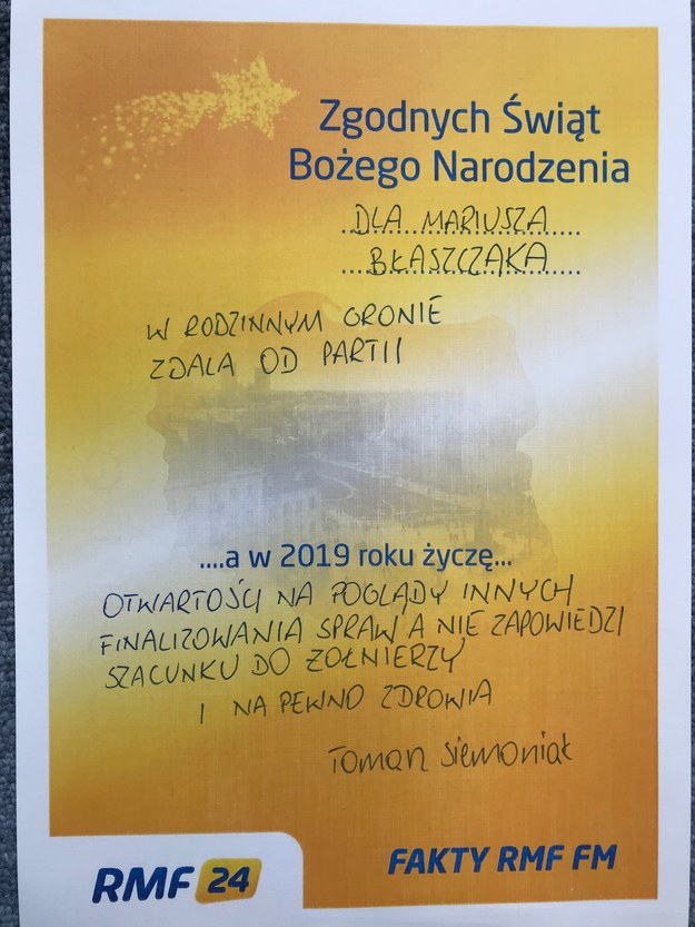 Życzenia Tomasza Siemoniaka dla Mariusza Błaszczaka /RMF FM