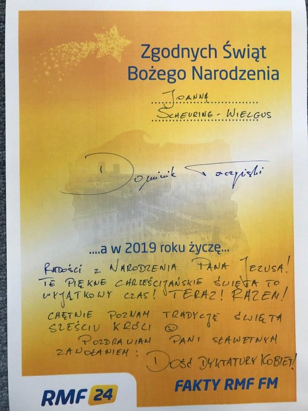 Życzenie Dominika Tarczyńskiego dla Joanny Scheuring-Wielgus /RMF FM